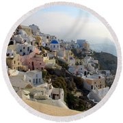 Fira In Santorini Round Beach Towel