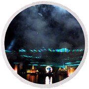 Fire Earth Water Meet Lasers Round Beach Towel