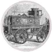 Fire Engine, 1862 Round Beach Towel