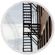 Fire Escape In Boston Round Beach Towel