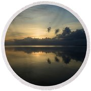 Fire In The Morning Round Beach Towel
