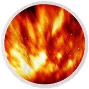 Fire In The Starry Sky Round Beach Towel