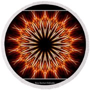 Fire Kaleidoscope Effect Round Beach Towel