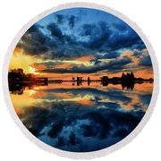 Fire Over Seven Springs Round Beach Towel