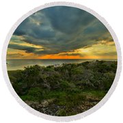 Fire Over The Outer Banks Round Beach Towel