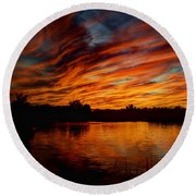 Fire Sky II  Round Beach Towel