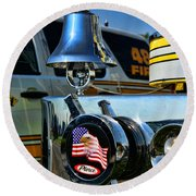 Fire Truck Bell Round Beach Towel
