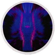 Fire Wolf Abstract Round Beach Towel