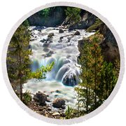 Firehole River Falls Round Beach Towel