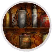 Fireman - Fire Control Round Beach Towel by Mike Savad