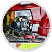 Fireman - Helmet Round Beach Towel