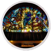 Fireman's Hall Stained Glass Round Beach Towel