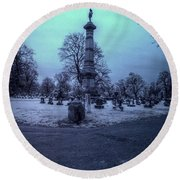Firemans Monument Infrared Round Beach Towel
