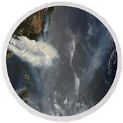Fires And Smoke In Southeast Australia Round Beach Towel