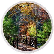Fire's Creek Bridge Round Beach Towel
