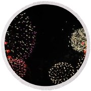Firework Lifecycle 3 Round Beach Towel by Meandering Photography