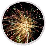 Firework Round Beach Towel by Meandering Photography