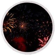 Fireworks At Oshkosh Airventure 2012. 01 Round Beach Towel