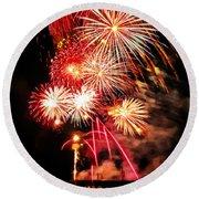 Fireworks Away Round Beach Towel