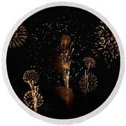 Fireworks Round Beach Towel by Bill Cannon