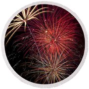 Fireworks Round Beach Towel by Garry Gay