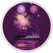 Fireworks In Malta Round Beach Towel