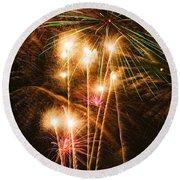 Fireworks In Night Sky Round Beach Towel