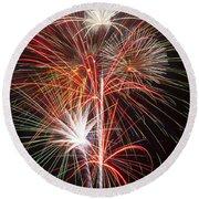 Fireworks Light Up The Night Round Beach Towel