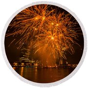 Fireworks London Round Beach Towel