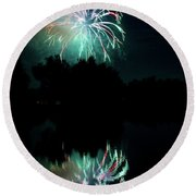 Fireworks On Golden Ponds. Round Beach Towel by James BO  Insogna