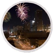 Fireworks Over The City Round Beach Towel