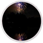 Fireworks Reflection Round Beach Towel
