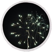 Fireworks With Moon II Fm2p Round Beach Towel