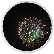 Fireworks With Moon IIi Fm3p Round Beach Towel