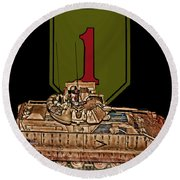 First Infantry Division Bradley Fighting Vehicle Round Beach Towel