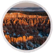 First Light At Bryce Canyon Round Beach Towel