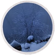 First Light First Snow II Round Beach Towel