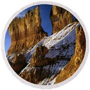 First Snow At Bryce Canyon Round Beach Towel