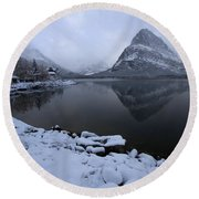 First Snow At Grinnell Round Beach Towel