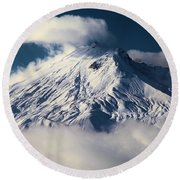 First Snow At Mt St Helens Round Beach Towel
