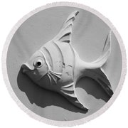 Fish And Shadow Face In Black And White Round Beach Towel