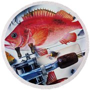Fish Bookplates And Tackle Round Beach Towel by Garry Gay