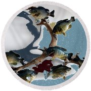 Fish Mount Set 05 B Round Beach Towel