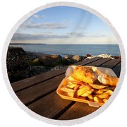 Fish 'n' Chips By The Beach Round Beach Towel by Rob Hawkins