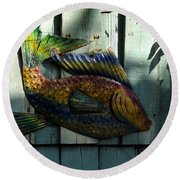 Fish On Fence Round Beach Towel