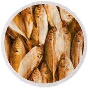 Fish Pattern On Wood Round Beach Towel