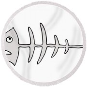 Fish Skeleton - Fishbones Round Beach Towel