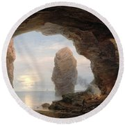 Fisherman In A Grotto Helgoland Round Beach Towel by Christian Ernst Bernhard Morgenstern