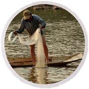Fisherman Mekong 2 Round Beach Towel