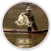 Fisherman Mekong 3 Round Beach Towel